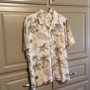Hawaiian tropical floral silk shirt